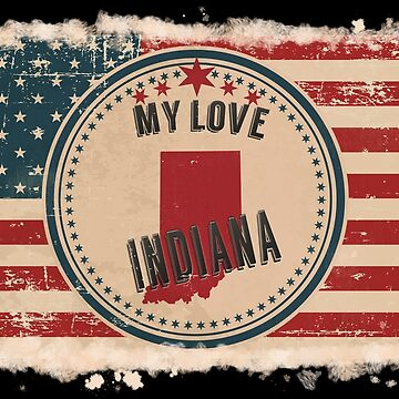 Indiana Vintage Retro US American Flag Design in Distress Look by Flaudermoon