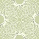 spirograph inspired pattern - white on powder green by VrijFormaat
