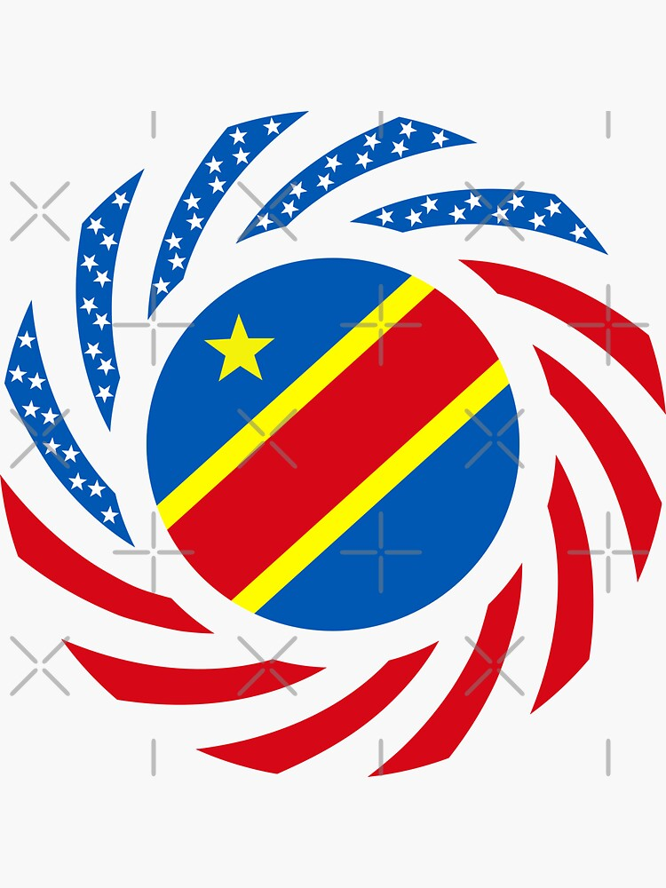 Congolese American (Democratic Republic) Multinational Patriot Flag Series by carbonfibreme