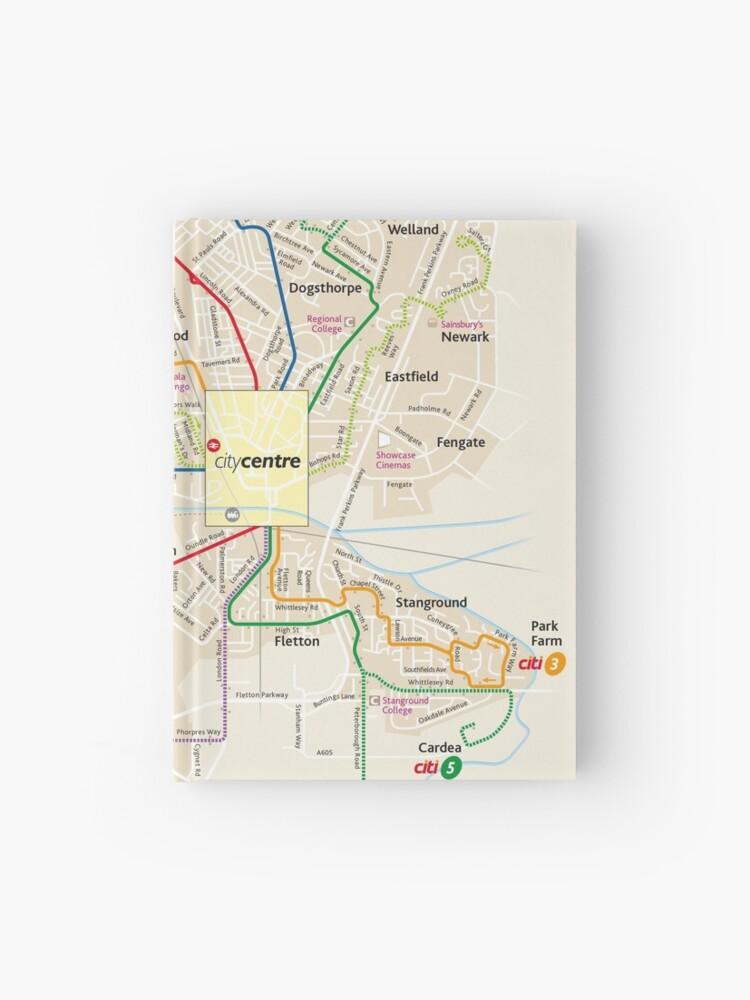 Map Of Uk Hd.Peterborough City Network Map England Uk Hd Hardcover Journal
