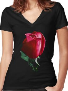 Rose Red. Women's Fitted V-Neck T-Shirt