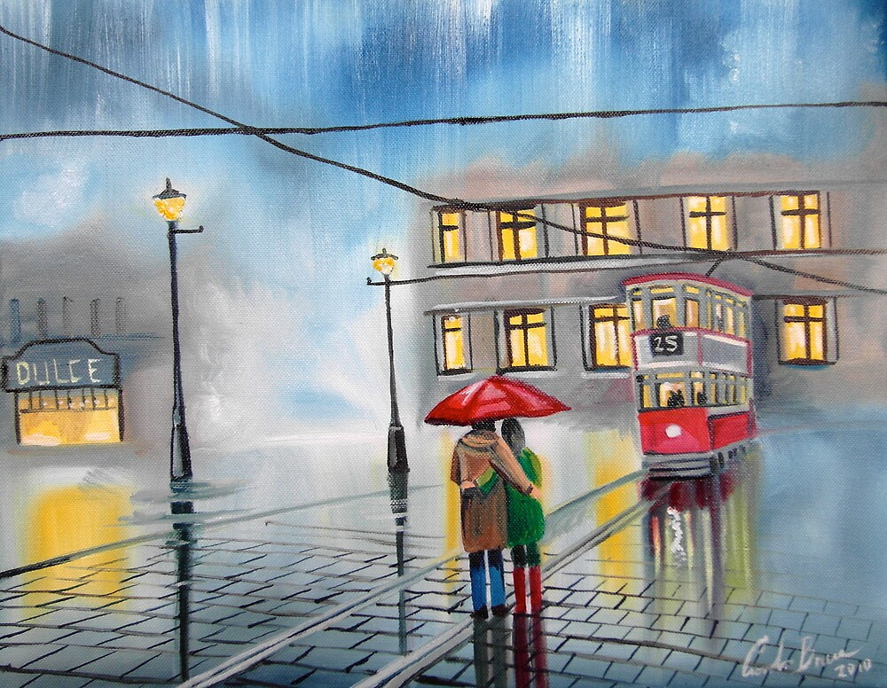 RAINY DAY UMBRELLA WET STREET TRAM OIL PAINTING by GORDON BRUCE ART