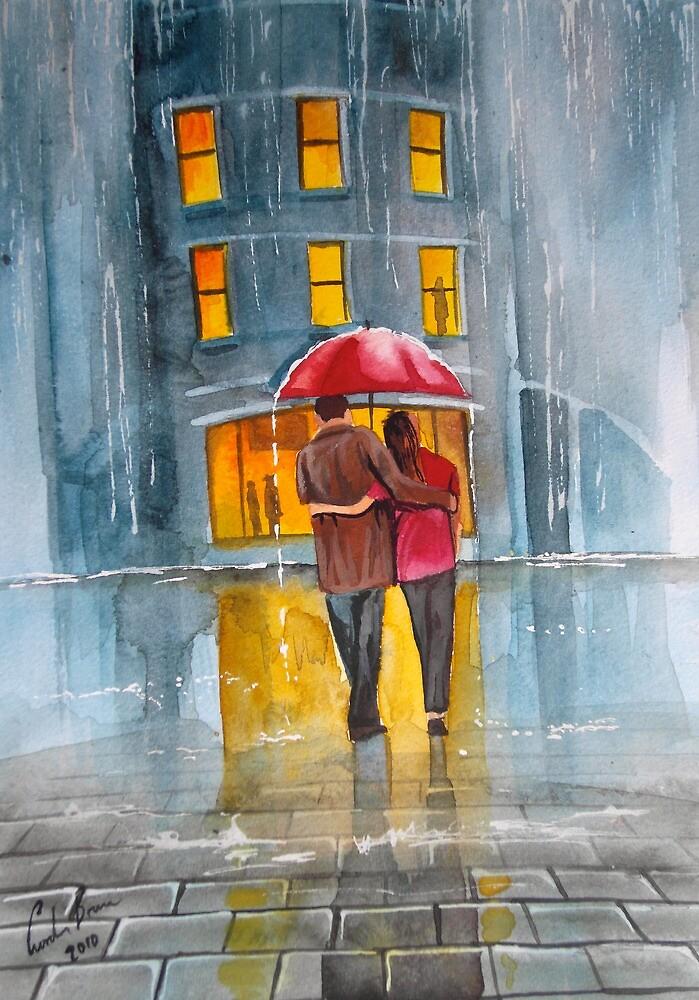 RAINY DAY UMBRELLA WATERCOLOUR PAINTING by GORDON BRUCE ART