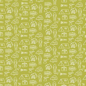 Camping Doodle Print Lime by hipaholic