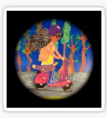 Girl Riding On a Scooter Sticker