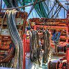 Seile und Netze eines Garnelenbootes von TJ Baccari Photography
