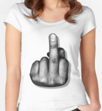 Middle Finger Flipping the Bird Women's Fitted Scoop T-Shirt
