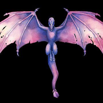 Flying watercolor dragon by Glazkova