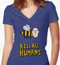 Save the bees. Fitted V-Neck T-Shirt