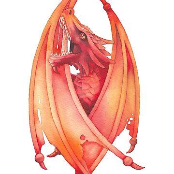 Roaring watercolor dragon  by Glazkova