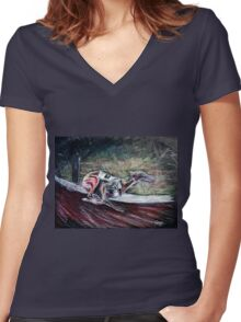Greyhound Number Three Women's Fitted V-Neck T-Shirt