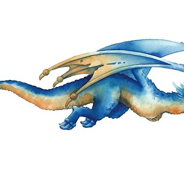 Flying watercolor dragon in blue colors by Glazkova