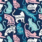 Be like a cat // midnight blue background white pastel pink aqua and teal cat silhouettes with affirmations by SelmaCardoso