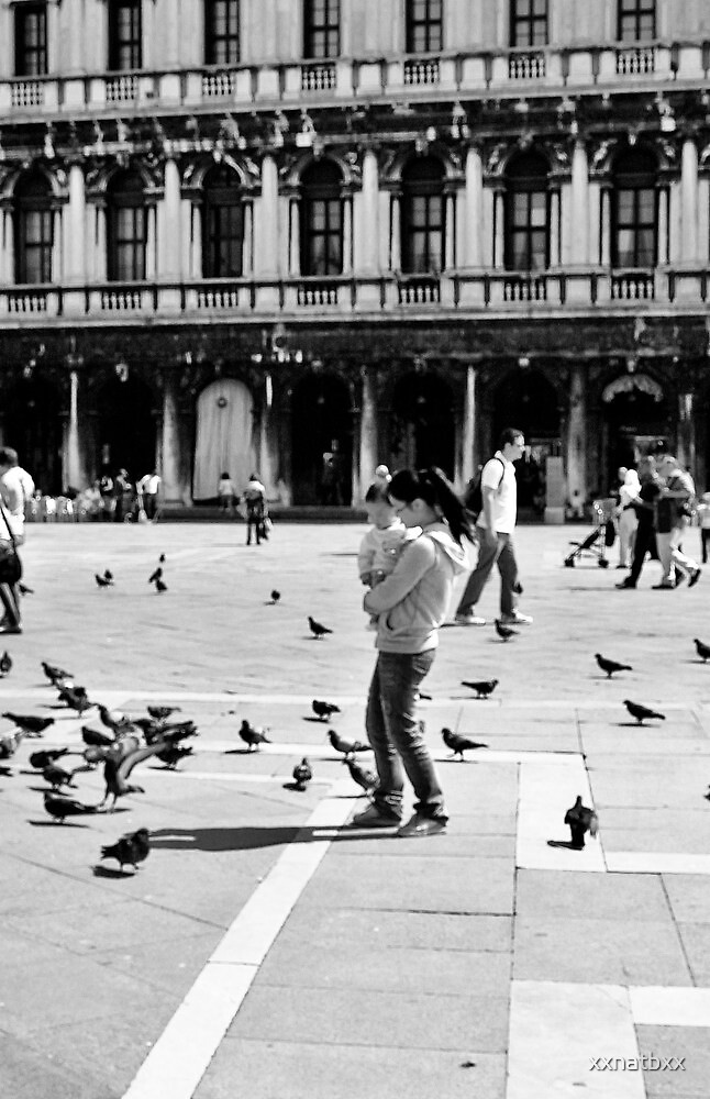 mother and child chasing pigeons  by xxnatbxx