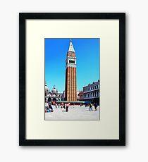 clock tower in venice Framed Print