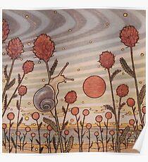 Schnecke in den Blumen Poster
