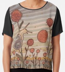 Snail in the Flowers Chiffon Top