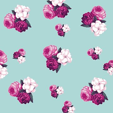 vintage,retro,floral pattern,shabby chic,pattern,country chic,roses,flowers,turqouise background,purple,white,modern,trendy,girly, by love999