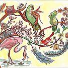 Exotic Birds Watercolor Fantasy Illustration watercolor by Naquaiya