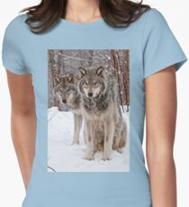 Timber Wolf Pair Women's Fitted T-Shirt