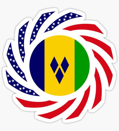 Saint Vincentian American Multinational Patriot Flag Series Sticker