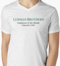 Camiseta de cuello en V Humor político de Lehman Brothers