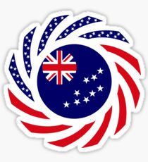 Tuvaluan American Multinational Patriot Flag Series Sticker