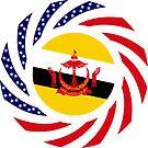 Bruneian American Multinational Patriot Flag Series by Carbon-Fibre Media