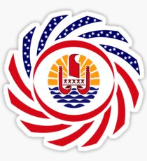French Polynesian American Multinational Patriot Flag Series Sticker