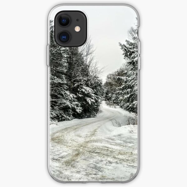 snowy back road iPhone Soft Case