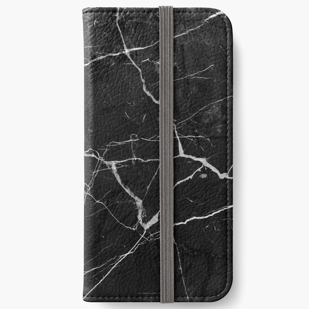 Black Suede Marble With White Lightning Veins iPhone Wallet