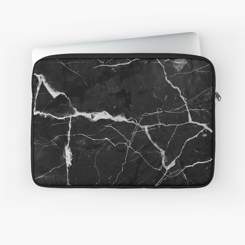 Black Suede Marble With White Lightning Veins Laptop Sleeve