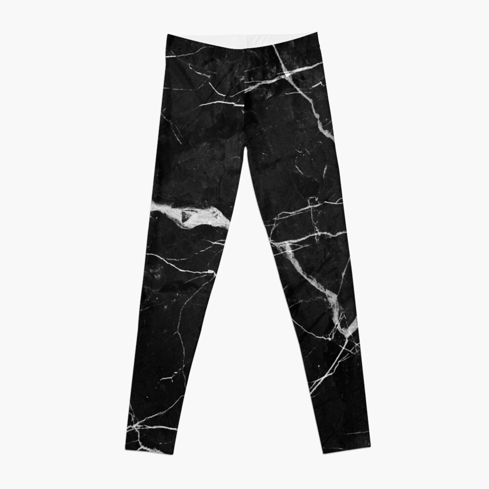 Black Suede Marble With White Lightning Veins Leggings