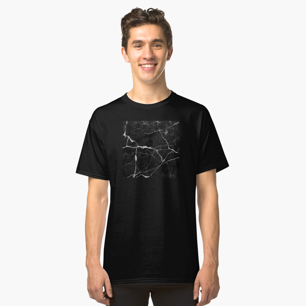 Black Suede Marble With White Lightning Veins Classic T-Shirt