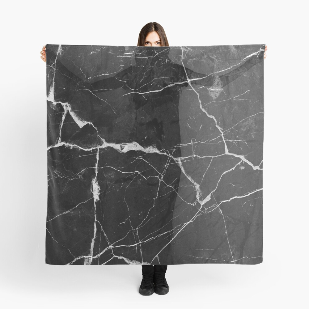 Black Suede Marble With White Lightning Veins Scarf