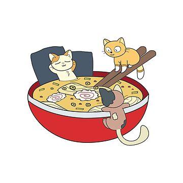 Cat Shirt Kawaii Anime Japanese Ramen Noodles by ZippyThread