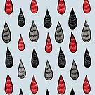 Weird Rain Drops Ink Pattern In Red Black Grey by Boriana Giormova