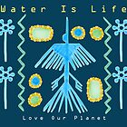 Water is Life - Love our Planet Peruvian Crane Guardian by tinaschofield