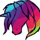 «Caballo lindo y colorido del unicornio de la fantasía con color del polígono del arco iris. Ilustración del vector para la camisa, la etiqueta engomada, la taza, las cubiertas del teléfono y más.» de Maricrism