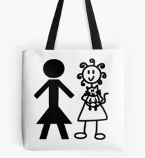 The Girl with the Curly Hair Holding Cat and NT Woman - White Tote Bag