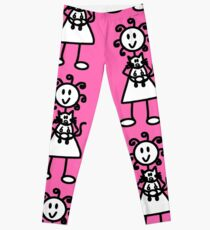 The Girl with the Curly Hair Holding Cat - Pink Leggings