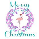Merry Christmas Flamingo Wreath by EvePenman