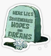 Hier liegt Lügen Thaddäus Hoffnungen und Träume - Spongebob Sticker
