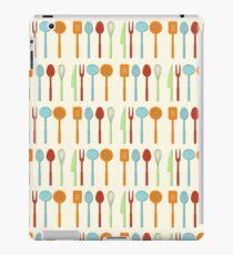 Kitchen Utensil Colored Silhouettes on Cream iPad Case/Skin