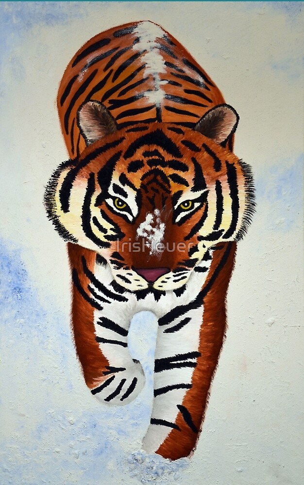 Tiger in the snow painting by IrisHeuer