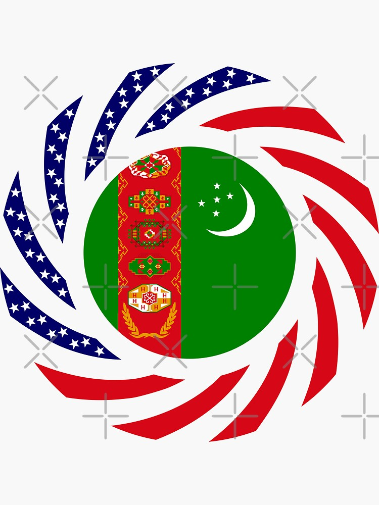 Turkmen American Multinational Patriot Flag Series by carbonfibreme