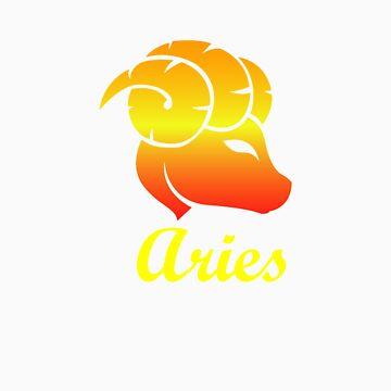 Aries Fire Sign Graphic Zodiac Birthday Gift Idea Horoscope Design by orangepieces
