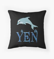 Yen Dolphin Sticker Throw Pillow