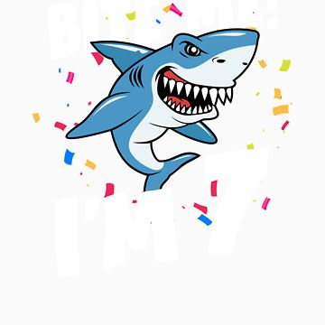 Boys 7 Years Old Happy Birthday Gifts Fun Party Shark Gift Idea by orangepieces