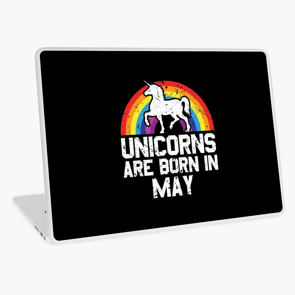 Unicorns Are Born In May Shirt Birthday Month Gift Tee Laptop Folie